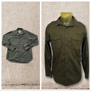 Helix Button Down Olive Cotton Shirt Medium